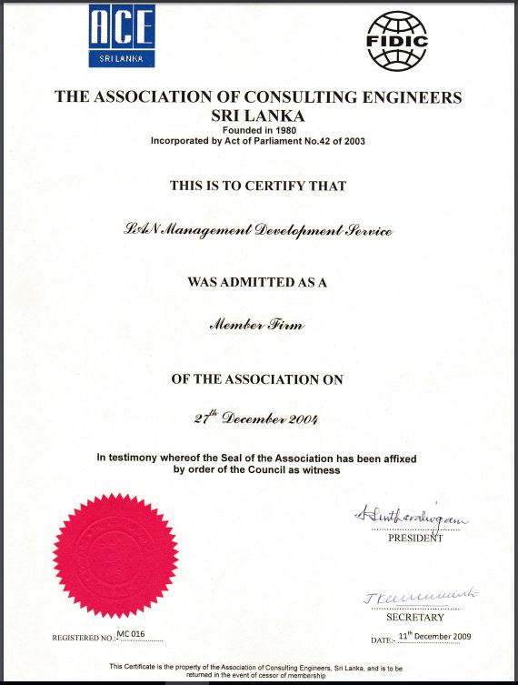 Certificate - Association of Consulting Engineers Certificate - Member Firm Admission to ACE