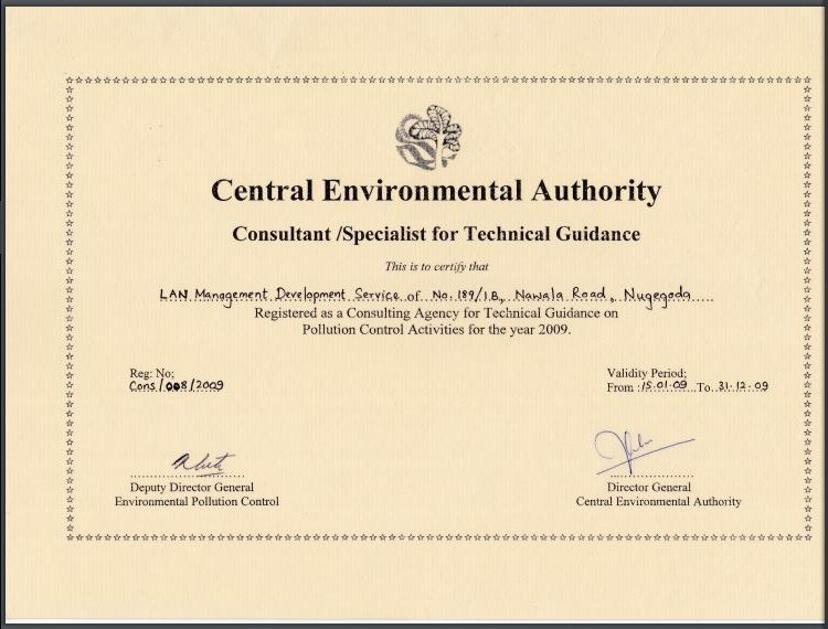 Certificate -Certificate of Central Environmentl Authority - Consultant for Technical Guidance
