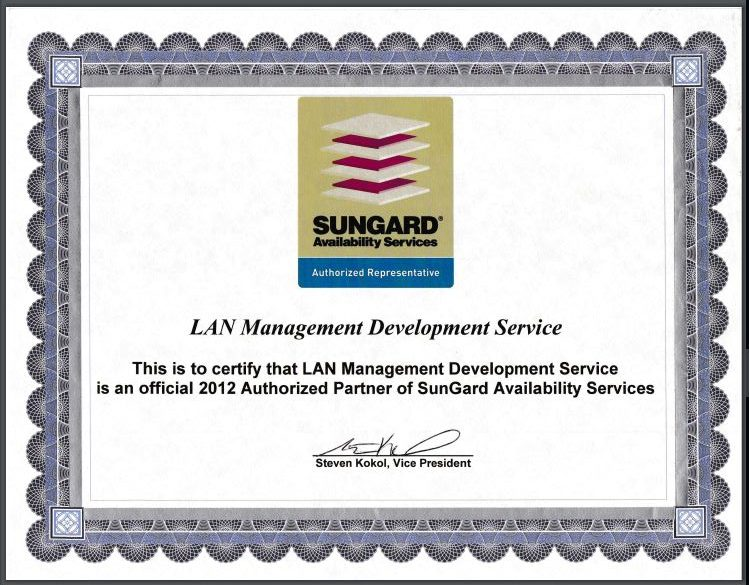 Certificate - Certificate of Sungard 2012- Official Authorized Partner of Sungard