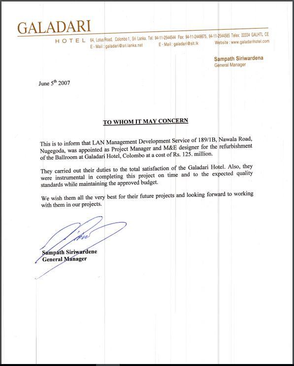 Galadari Hotel - Letter of Appointment for Ballroom Refurbishment
